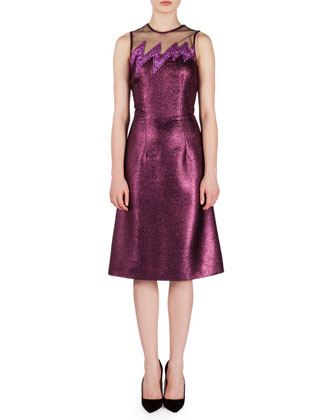 Sleeveless Glitter Lightning Dress, Pink