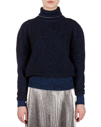 Long-Sleeve Metallic-Ribbed Sweater, Blue