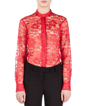 Mandarin Collar Long-Sleeve Lace Blouse, Red
