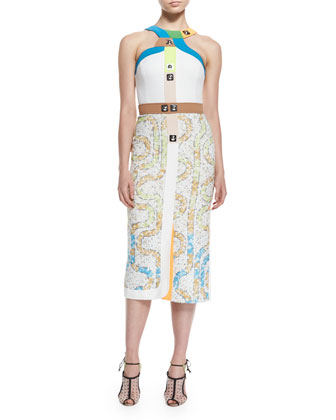 Racetrack-Print Colorblock-Trimmed Dress