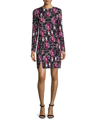 Long-Sleeve Floral-Print Sheath Dress, Amethyst