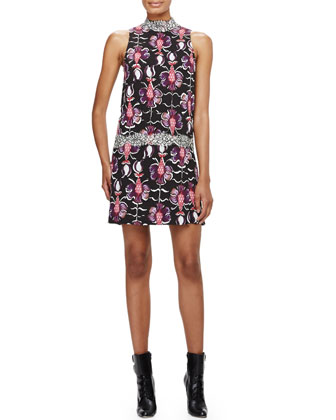 Roman-Collar Drop-Waist Floral Dress