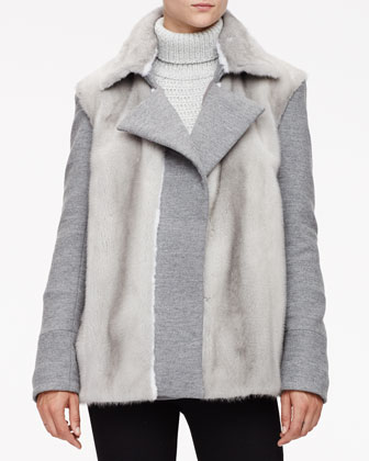 Mink Fur Pleated Peacoat & Textured Chain Knit Turtleneck Sweater