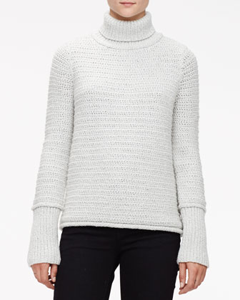 Textured Chain Knit Turtleneck Sweater