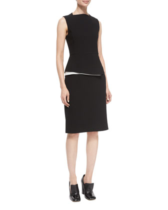 Contrast Peplum Sheath Dress, Black/White