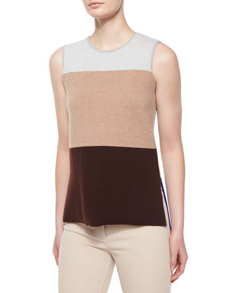Sleeveless Colorblock Top, Gray/Camel/Vicuna