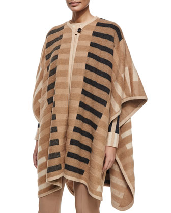 Mixed-Tone Striped Blanket Cape, Striped Long-Sleeve Sweater & Tina ...