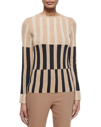 Striped Long-Sleeve Sweater, Caramel