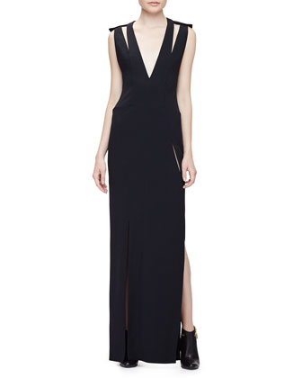 Sleeveless Double-Strap V-Neck Gown, Black