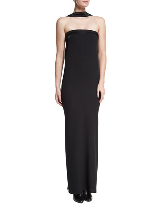 Strapless Reverse-Halter Column Gown, Black