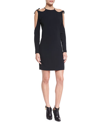 Cutaway-Shoulder Cady Dress, Black