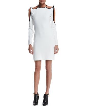 Long-Sleeve Cold-Shoulder Sheath Dress, Chalk