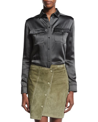 Long-Sleeve Safari Shirt, Metallic Olive