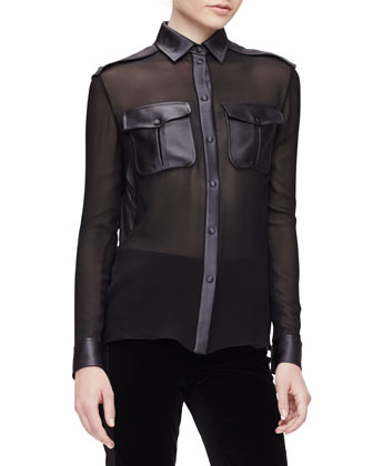 Long-Sleeve Sheer Combo Safari Blouse, Black/Gunmetal