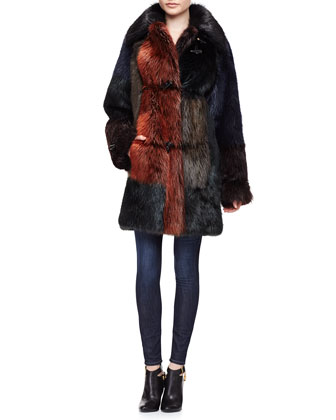 Fur Colorblock Long Toggle Coat, Multi