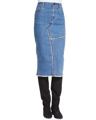 Boxy Rag-Rug Sweater & Jean Midi Skirt W/Raw Edges