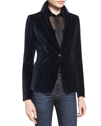 One-Button Velvet Jacket, Long-Sleeve Button-Front Safari Blouse & ...