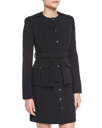 Fitted Military Belted Jacket & Button-Front Mini Skirt