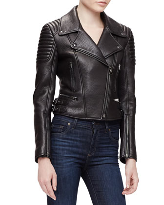 Pebbled-Leather Moto Jacket, Black