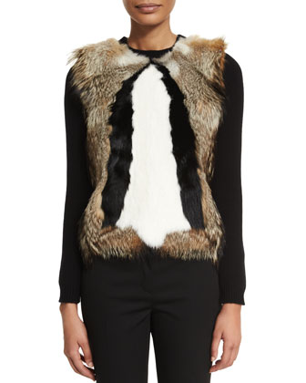 Long-Sleeve Patterned-Fur Pullover & Straight-Leg Flat-Front Pants