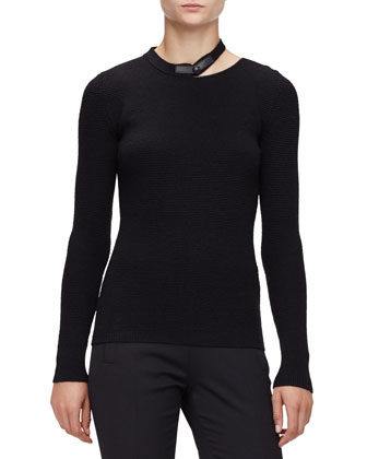 Long-Sleeve Leather-Neck Top, Black