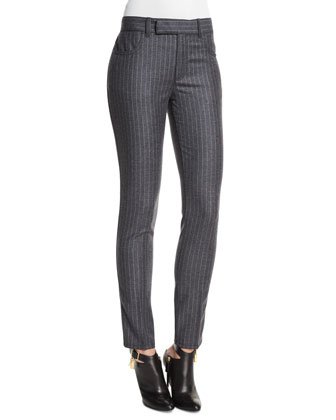 Mid-Rise Pinstripe Skinny Pants, Charcoal Gray