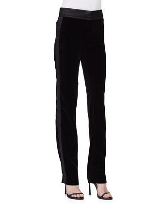 Slim-Leg Pants W/Tuxedo Stripe, Black