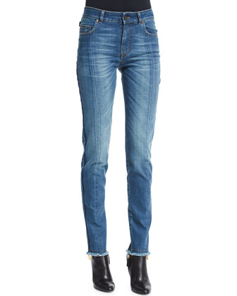 High-Waist Patchwork-Panel Jeans, Blue