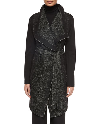 Belted Tweed Combo Wrap Coat, Long-Sleeve Jersey Turtleneck Top & Pull-On ...