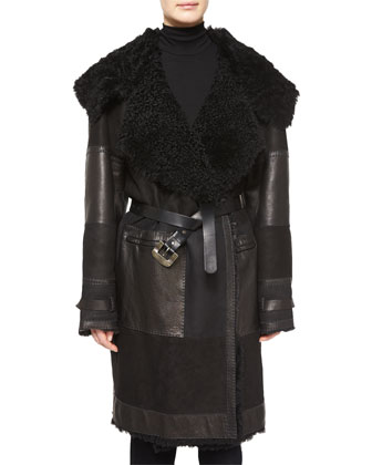 Long-Sleeve Dyed Shearling Fur Coat, Black