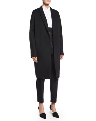 Relaxed Long Slim Coat, Black