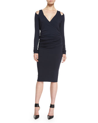 Ruched Cold-Shoulder Sheath Dress, Midnight