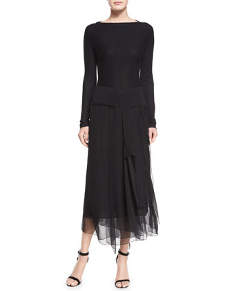 Double-Faced Cashmere Fringe Jacket & Layered Chiffon-Skirt Combo Dress