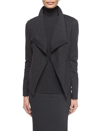 Long-Sleeve Molded Cardigan Jacket, Sheer-Sleeve Jersey Turtleneck & ...