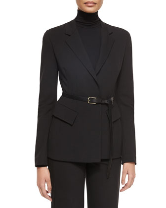 Belted Peplum Notched-Lapel Jacket