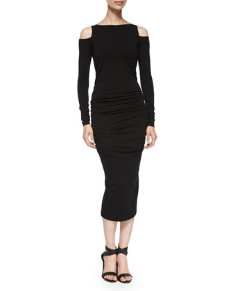Long-Sleeve Cold-Shoulder Sheath Dress, Black