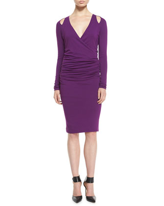 Ruched Cold-Shoulder Sheath Dress, Cyclamen