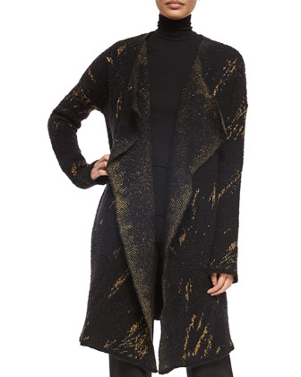 Cashmere-Blend Tapestry Jacquard Open Coat, Long-Sleeve Jersey Turtleneck ...