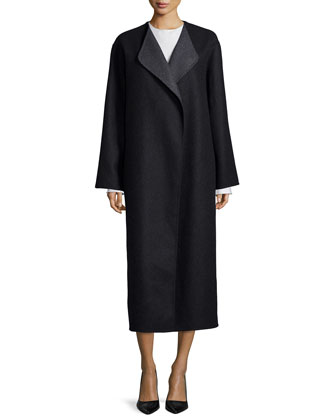 Augustus Melange Robe Coat, Black