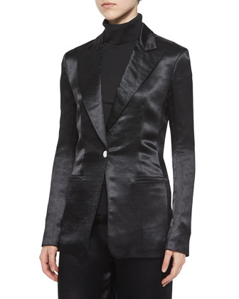 Ibner Satin Tuxedo Jacket, Sabina Tissue Turtleneck & Misa Satin Wide-Leg ...