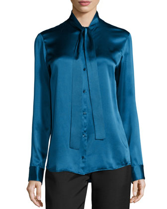 Tipet Silk Tie-Neck Blouse, Marine Blue