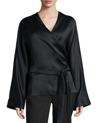 Haki Satin Kimono-Sleeve Top & Locu Zip-Front Pants