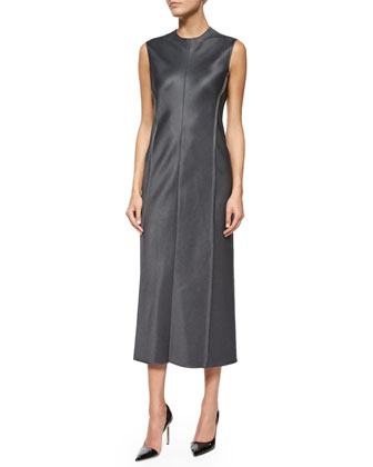 Narston Mink Fur Tie-Waist Coat & Ceri Sleeveless Satin Midi Dress