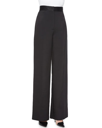 Melip High-Waist Wide-Leg Pants, Black