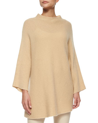 Renata Asymmetric-Knit Cashmere Sweater & Moto Leather Leggings
