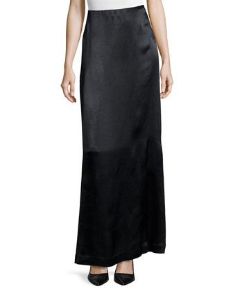 Argena Funnel-Neck Knit Sweater & Pacel Satin Maxi Skirt