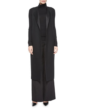 Effie Sleeveless Vest Coat, Black