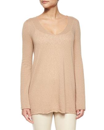 Mila Cashmere-Silk Cardigan Coat, Dory V-Neck Tissue Sweater & Moto Leather ...