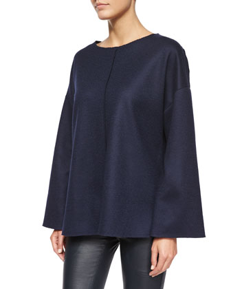Zadine Bell-Sleeve Knit Top, Oil Blue