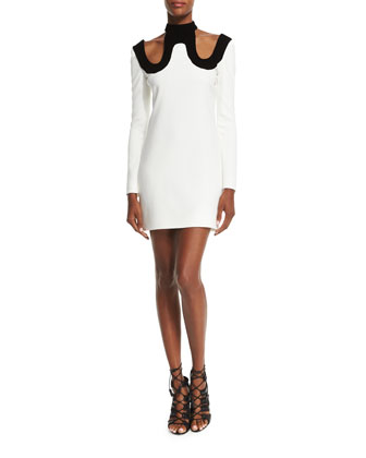 Long-Sleeve Two-Tone Dress, White/Black